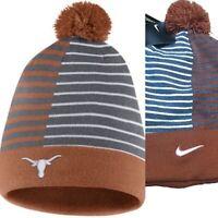 NIKE NCAA texas longhorns Hat Beanie Reversible Hook Em Stripe Orange Cap