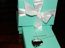 "NIB Tiffany & Co Ziegfeld Puffy Heart Charm Pendant Sterling Silver Necklace 24"""
