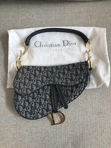 Authentic Vintage Christian Dior Saddle Bag Navy Trotteur With Gold HardwareItem