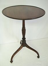 """Antique Mahogany 16"""" Dish Tilt Top Candle Stand Table Acanthus Leaf Carved Stem"""