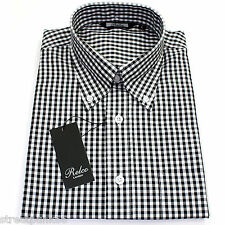 Relco Mens Black White Gingham Short Sleeved Shirt Button Down Mod ...