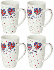 Set of 4 Bone China Tall Large Latte Mugs Coffee Mugs