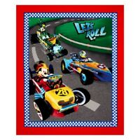 Disney Mickey and Friends Lets Roll Cotton Quilting Fabric Panel