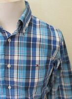 Tommy Hilfiger Men's Blue Check Cotton Long Sleeved Oxford Shirt - Size Medium