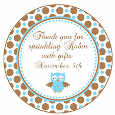 40 Stickers Thank you Labels Bird Owl Birthday Party Favors Baby Boy Shower A1