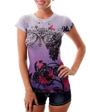 Women Purple  Blouse Top with Butterfly Print and Rhinestones - Size Large