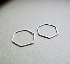 Hexagon Sterling Silver Earrings. Small Geometric Hoops. Unique Modern Jewelry