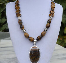 """18"""" Handmade Tiger's Eye Heart Necklace with Matching Pendant"""