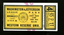 1931 Washington Jefferson v Western Reserve Univ. Football Ticket 11/21/31 23444
