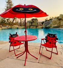 Kids Patio Set Table 2 Picnic Chairs Umbrella Ladybug Indoor Outdoor Backyard