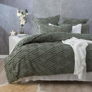 Revive Living Chevvy Cotton Chenille Vintage washed Tufted Quilt cover Forest