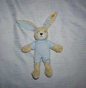 Steiff Kuscheltier Hase mit Kleidung ca. 25cm Stofftier beige/blau TOP Zustand!
