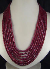 """Real Beautiful 2x4mm NATURAL RUBY FACETED BEADS NECKLACE 7 STRAND 17-23""""AAA"""