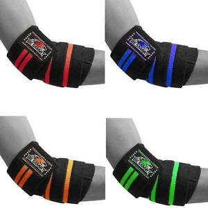 HEAVY DUTY ELBOW SLEEVES SUPPORT WRAPS STRAPS GYM POWER WEIGHT LIFTING PAIR