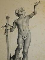 Caspar GSELL LITHO XIX DAVID GOLIATH HOMME NU ROMANTISME CHAPONNIERE gay int