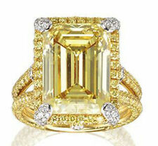 925 Sterling Silver Gorgeous Right Hand Big Yellow Emerald Cut Halo Ring Solid