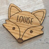 Personalised Fox Wooden Coasters - Oak Wood Coaster Mats Unique Gift Fox Lovers