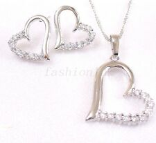 Womens White Gold Plated Love Heart Simulated Diamond Stud Earrings Necklace Set
