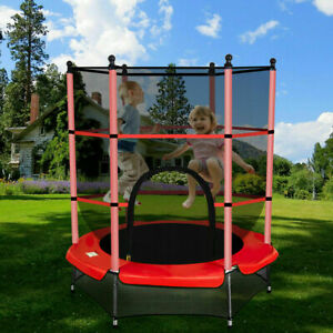 4.5FT Mini Trampoline Set with Enclosure Safety Net Outdoor Indoor Kids Toy Gift