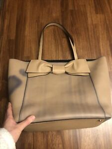 Kate Spade Savannah bow leather med/lg tote handbag $448 tan blue faded in RARE