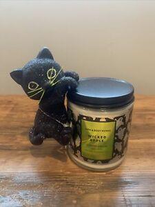 Bath & Body Works 2021 Halloween BLACK CAT Jar Hanger & WICKED APPLE Candle set
