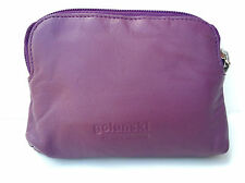 Small Super Soft Leather Credit Card Holder Coin Zip Purse in 9 Colours Purple