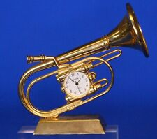 Vintage miniature brass Tuba clock, working order L:9.5cm *[19719]