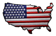 Unites States Map Embroidered Iron On Patch - US Flag Patriotic Biker 047-S