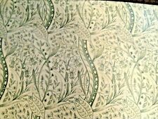 QUEEN SIZE DUST RUFFLE BEDSKIRT ALOE GREEN & WHITE VINES PETALS FLORAL NEW