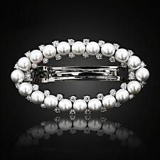 BARRETTE use Swarovski Crystal Hairpin Hair Clip Bridal Wedding Silver Pearl CZ