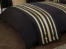 Glitz Negro y Oro 200 Hilos Hotel Calidad Elegante Runner cama acolchada