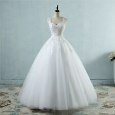 Real Photo Ball Gown Lace Wedding Dress with Pearls Cheap Bridal Gown In Stock