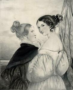 TWO VICTORIAN LADIES Antique Drawing - 19TH CENTURY