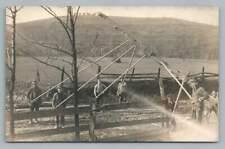 Wooden Pole Construction Men RPPC Antique Occupation Photo Work 1910s