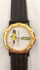 Planters Mr. Peanut Watch Europa Black Leather Strap Japanese Movement In Box