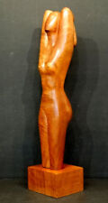 1960 Vintage MID-CENTURY MODERN Carved Wood MODERNIST FEMALE NUDE Art Sculpture