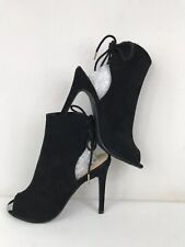 Forever 21 Faux Suede Back Lace Up Peep Toe Ankle Stilettos Boots Black UK4.5
