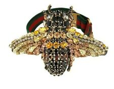 New Authentic Gucci Crystal Queen Bee Stretch Web Bracelet