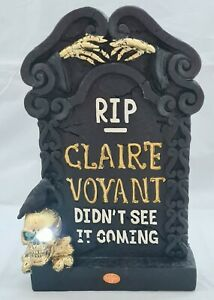 "Halloween Tombstone Skull Hands Spooky Table Window Decor Light Up 10x6"""