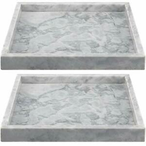 ZEONHAK 2 Pack 10 x 10 Inches Natural Marble Tray Decorative Square Marble Tr...