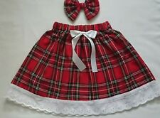 Baby's Skirt and Head bow Tartan print New