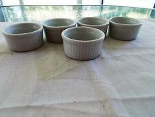 "Set Of 5 Cordon Bleu 3 1/4"" White Ramekin Baking Dishes Very Good Condition"