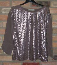 Geren Ford Designer Loose Taupe Sequin Blouse Shirt Top M Medium NWOT GILT.com