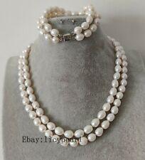 doppelt Reihen 8-9mm weiß Süßwasser Perle Halskette & Armband set