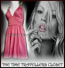 RARE KATE MOSS TOPSHOP VINTAGE 1950s PINK DRESS GOLD ROPE HALTERNECK UK 12 14 16