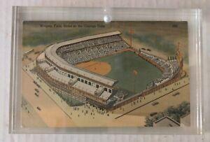 Vintage Wrigley Field MLB Vintage Post Card 1943 in acrylic frame postmarked
