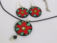 Poinsettia flower, Jewelry sets, Necklace and Earring, Gift for her, red jewelry