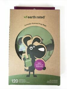 120 Earth Rated Dog Puppy Poo Bags Poop Waste Refill Roll Lavender Scented