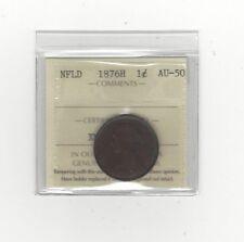 **1876H**, ICCS Graded Newfoundland, Large One Cent, **AU-50**
