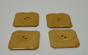 Lot 4 Yellow Geometric Square Pressed Bakelite Buttons